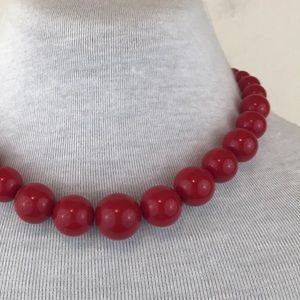 Vintage Red Beaded Choker Necklace